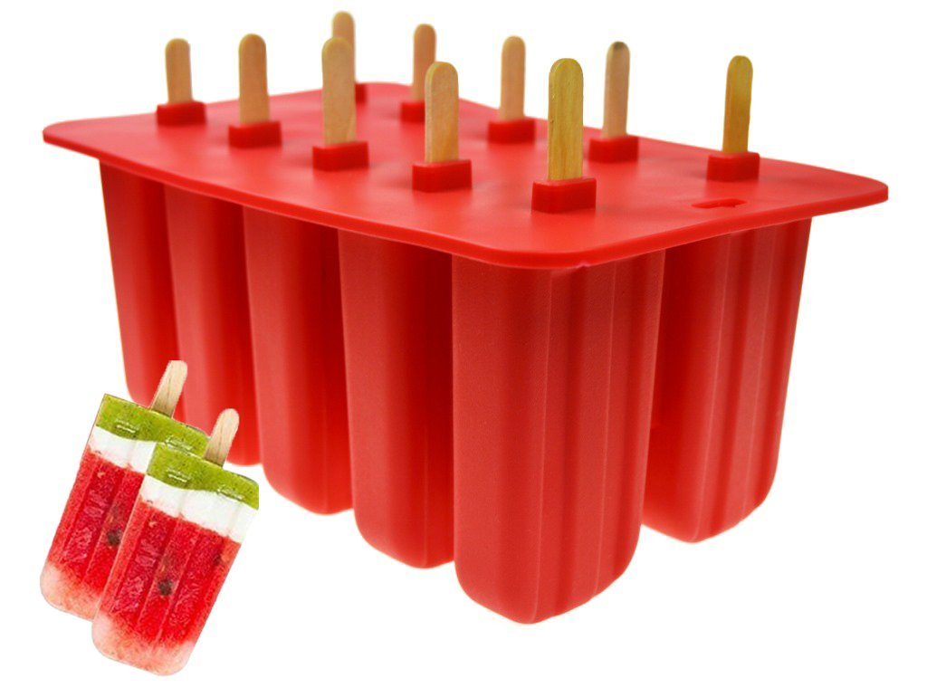 Popsicle Molds, 10-Cacity Ice Pop Makers Food Grade Silicone BPA Free Frozen Ice Cream Maker With Cover Lid