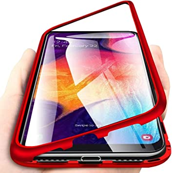 Carcasa para Samsung Galaxy A50, Funda de Fuerte Adsorción Magnética Súper Delgada Marco de Metal de Vidrio Templado Transparente con Cubierta Magnética Incorporada Caso: Amazon.es: Electrónica