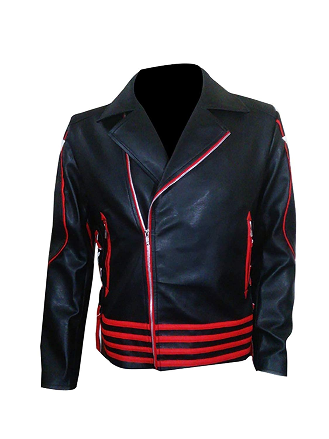 Freddie Mercury Jacket Queen Concert Belted Motorcycle Yellow Leather Jacket Red Black Costume