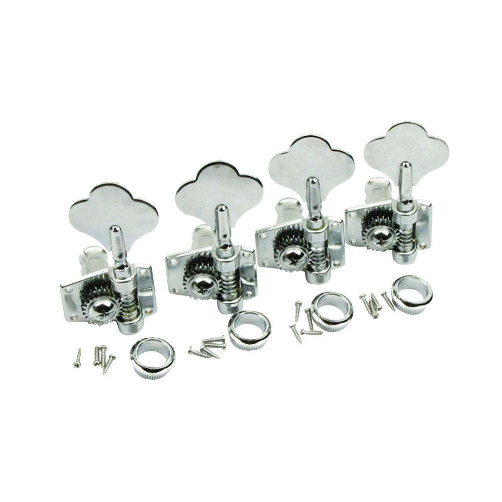 Musiclily 4-in-line Set of 4R Vintage Open Geared Bass Tuners Machine Head Tuning Keys Pegs for Left Hand Jazz Precision P Bass Replacement, Chrome