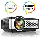 "TOPTRO Portable Projector,5500 Lumens Video Projector Support 1080P,200"" Display,HiFi Speaker,[Native 720P] 55000 Hrs Outdoor/Home Projector Compatible with TV Stick/Phone/Laptop/PS4/SD/USB/VGA/HDMI"