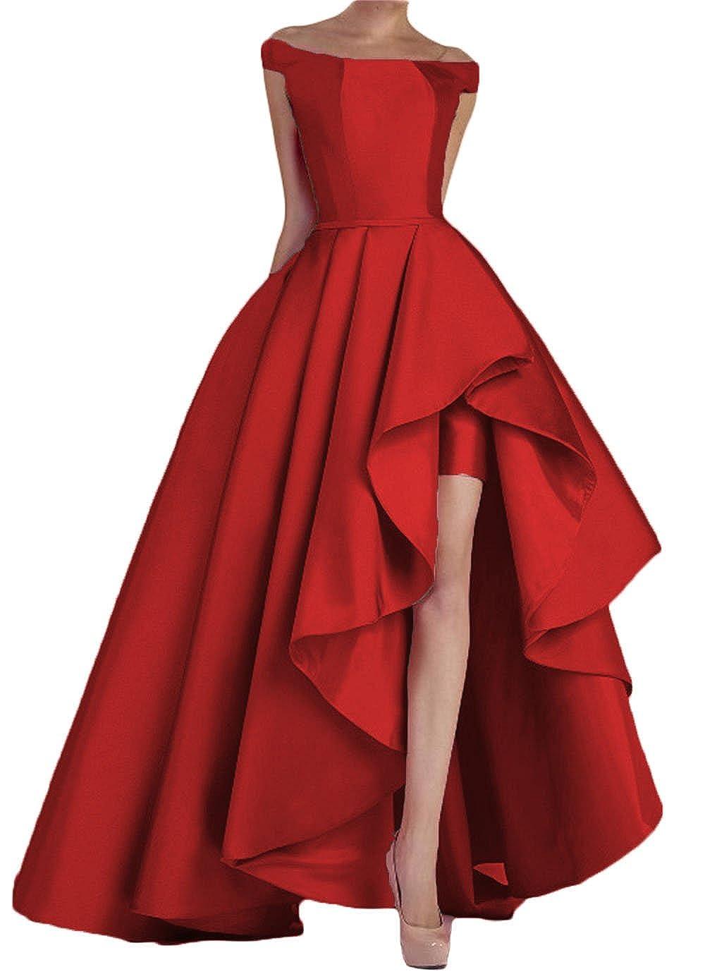 Dark Red Dydsz Women's Off Shoulder Long Evening Prom Dresses Plus Size Formal Gowns D22