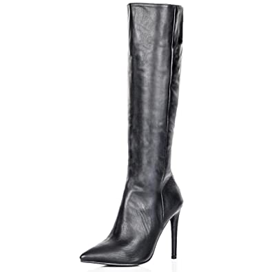 1410b2e2259 Spylovebuy Stiletto Heel Zip Pointed Toe Knee High Boots Black Synthetic  Leather US 5