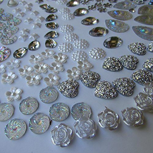400 Pcs of Assorted Silver Pearl Finish, Iridescent Flat Back Teardrop Beads Cabochons Assorted Sizes 4mm-18mm