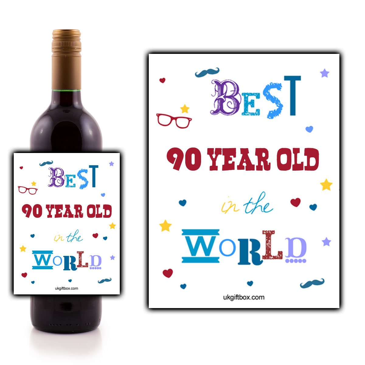 """""""Best 90 year old in the World"""" Wine Bottle Lable - perfect for adding that special touch to someone's favourite bottle! ukgiftbox"""