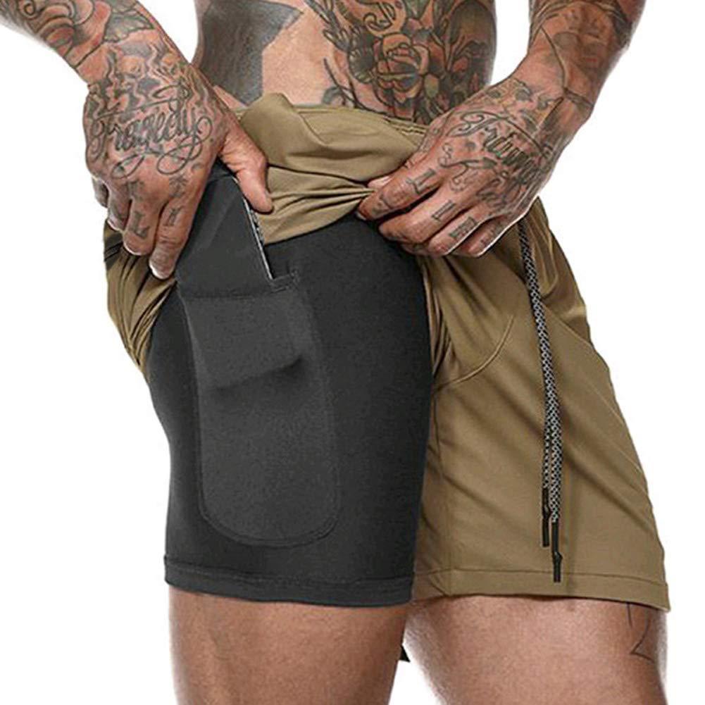 MAyouth 2019 Compressione Bicchierini degli Uomini 2 in 1 Pantaloncini da Corsa di Sport di Secchezza Rapido Traspirante con Built-in Pocket Liner for Men