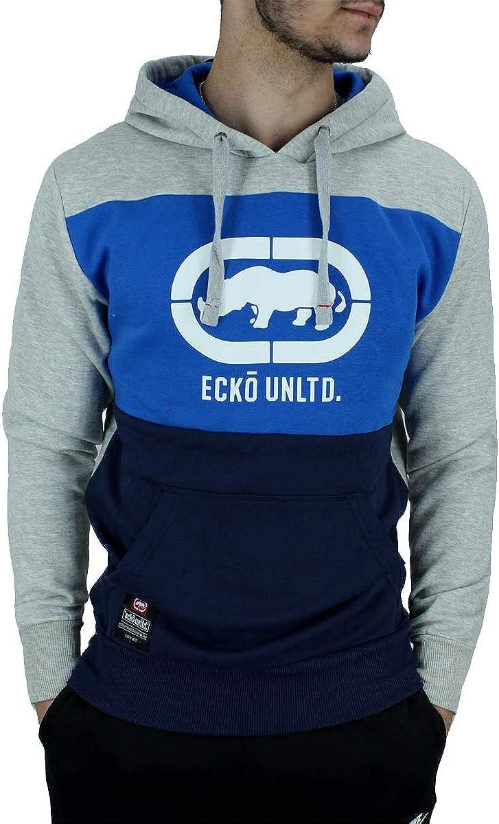 Ecko Hombre Manga Larga Diseñador Sudadera con Capucha sin Cremallera, Negro Azul Gris