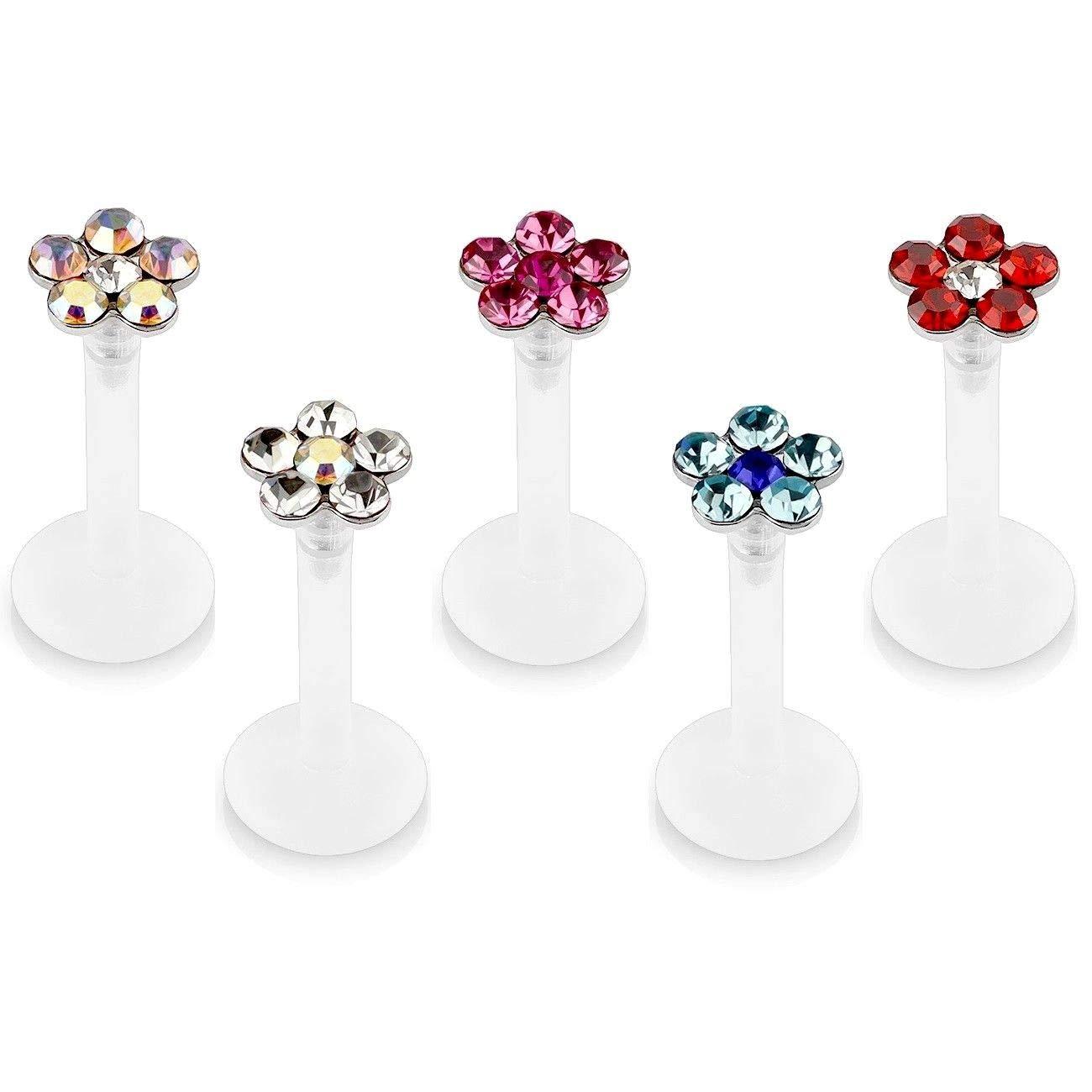 Size 5//16 adt/_pi 5 Pcs Multicolor Gemmed Flower Flexible Labret Monroe Rings Studs Lip Chin Ear Cartilage Jewelry 8mm