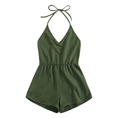 SweatyRocks Women's Halter Sleeveless Short Jumpsuit Rompers Backless Playsuit: Clothing