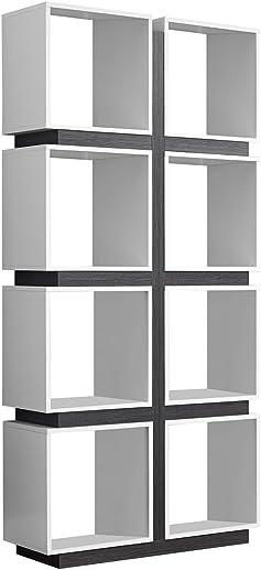 Monarch Specialties White/Grey Hollow-Core Bookcase