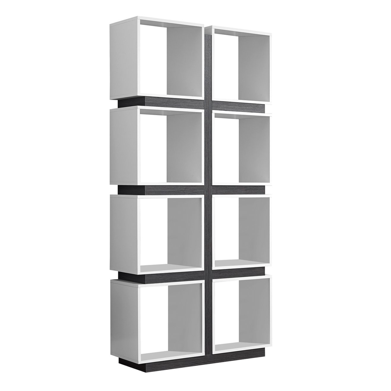 Monarch Specialties White Grey Hollow-Core Bookcase, 71-Inch