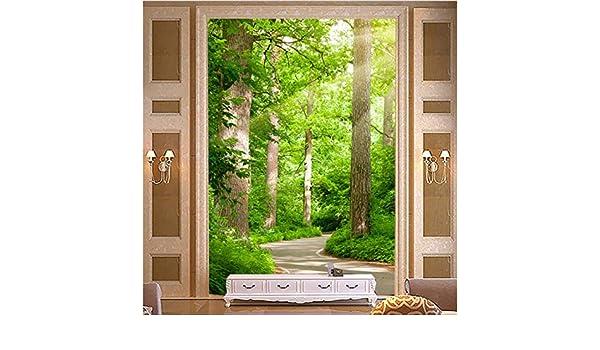 3D Foto Verde Bosque Camino Mural Habitación Fondo Hotel Entrada Pared Mural Fondo De Pantalla-(W)140X(H)100Cm ...
