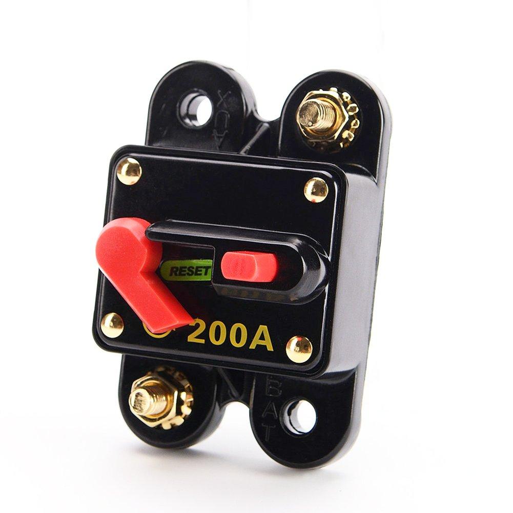 Carviya - Interruptor impermeable con reinicio manual para circuito elé ctrico - Para coche, todoterreno y barco - 12 V CC, 100 A/150 A/200 A