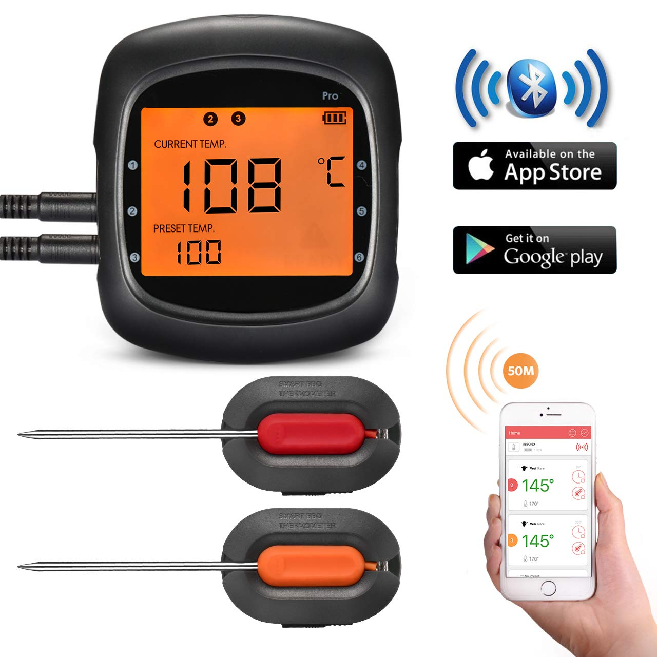Smart Wireless BBQ Thermometer,TOPELEK Bluetooth Meat Thermometer Remote Digital Cooking Food Thermometer With Large Backlit Display,Instant Read-Out,Magnetic Mounting Design,2 Probes,Alarm Monitor for Kitchen,Grill, BBQ,Steak,Turkey for IOS & Android