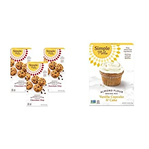 Simple Mills Almond Flour Chocolate Chip Cookies, Gluten Free and Delicious Crunchy Cookies, Organic Coconut Oil, 3 Count (Packaging May Vary) & Almond Flour Baking Mix, Gluten Free Vanilla Cake Mix