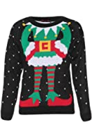 Forever Womens Celebrity Inspired Elf Print Knitted Christmas Jumpers