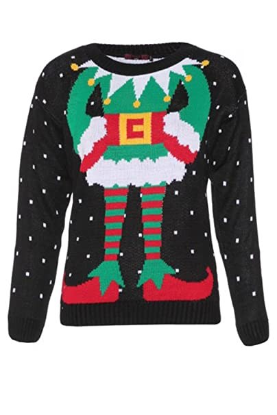 Christmas Jumpers.Forever Womens Celebrity Inspired Elf Print Knitted Christmas Jumpers