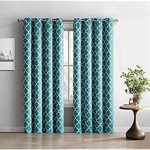 ME Lattice Print Thermal Insulated Blackout Window Curtain Panels Pair Chrome Grommet Top Teal Blue