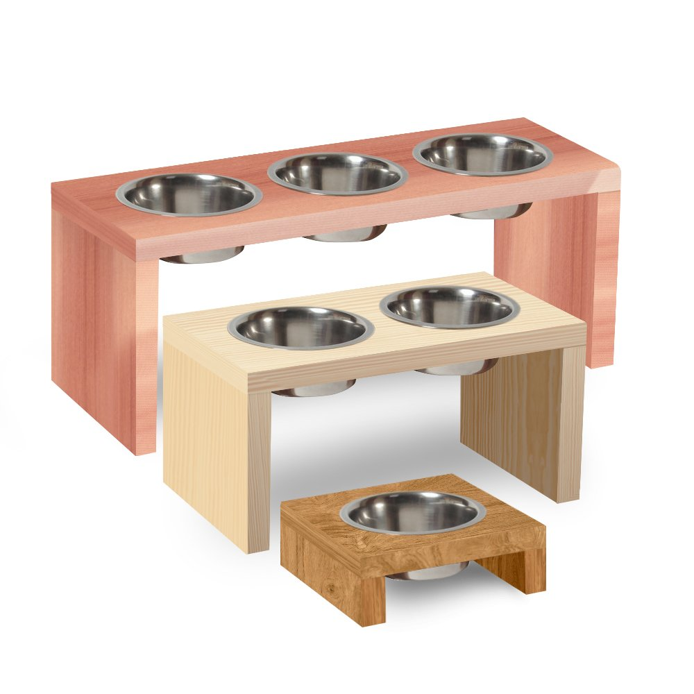 UNFINISHED Solid maple wood Elevated Dog and Cat Pet Feeder, Triple Bowl Raised Stand (2 quart), 3/4'' thick, 26'' x 10'' x 10'' Tall