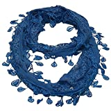 Girls Blue Solid Color Lace Edges Crochet Leafy Accents Circular Scarf