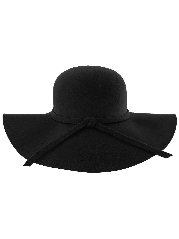 a5cdffb85239b7 Luxury Divas Black Wide Brimmed Wool Floppy Hat at Amazon Women's Clothing  store: Sun Hats