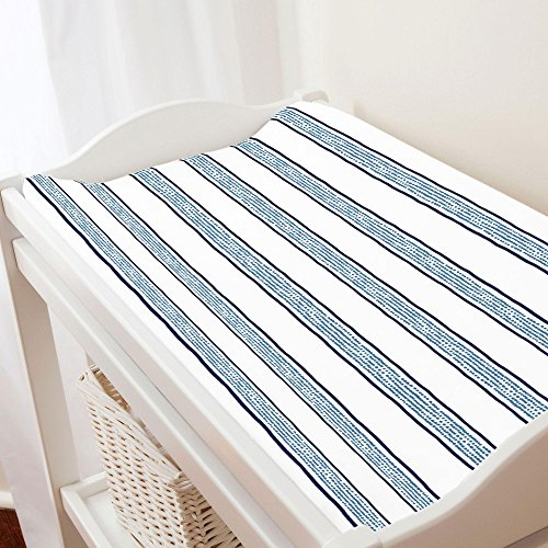 Carousel Designs Navy and Denim Beach Stripe Changing Pad Cover - Organic 100% Cotton Change Pad Cover - Made in The USA (Pad Changing Denim)