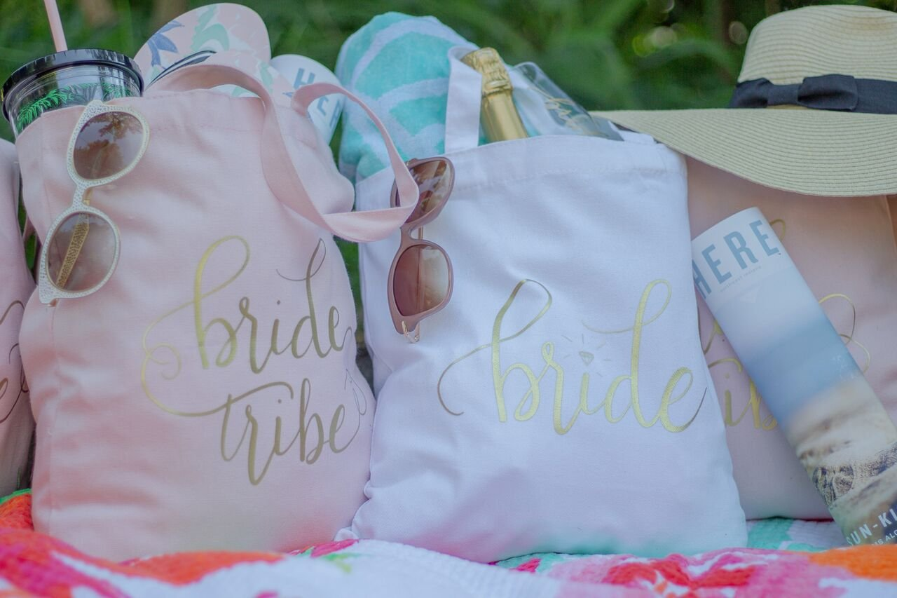 11 Piece Set of Pink Bride Tribe and Bride Canvas Beach Tote Bags for Bachelorette Parties, Weddings and Bridal Showers! by Samantha Margaret