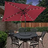 BCP 10'x6.2′ Deluxe Solar LED Lighted Rectangle Patio Umbrella W Tilt Sunshade