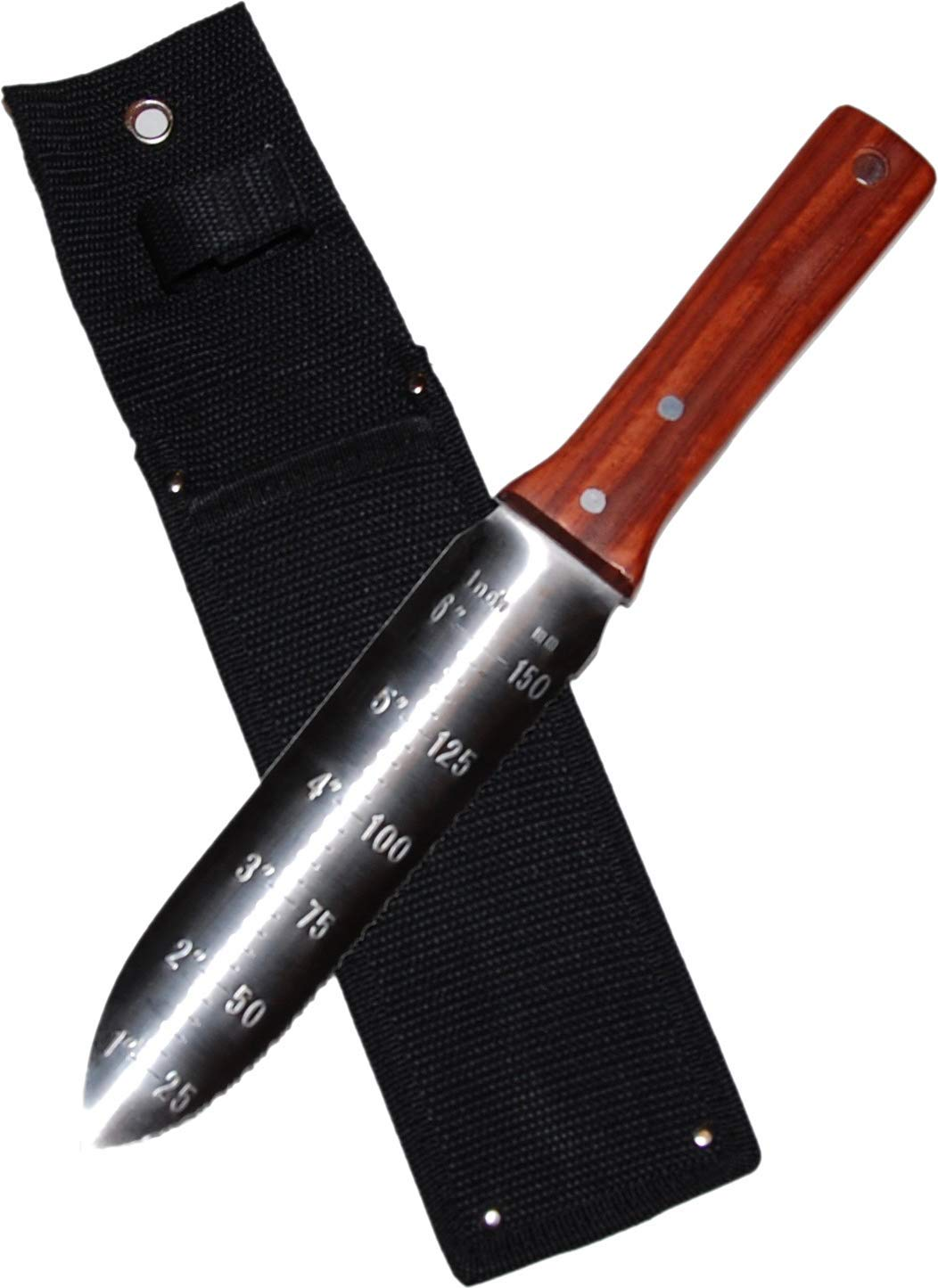 12'' Hori Hori Japanese Garden Knife with 7'' Stainless Steel Blade plus Protective Sheath. Great gift for Gardeners and Campers! Multi-purpose tool ideal for Gardening, Digging, Camping, & Landscaping