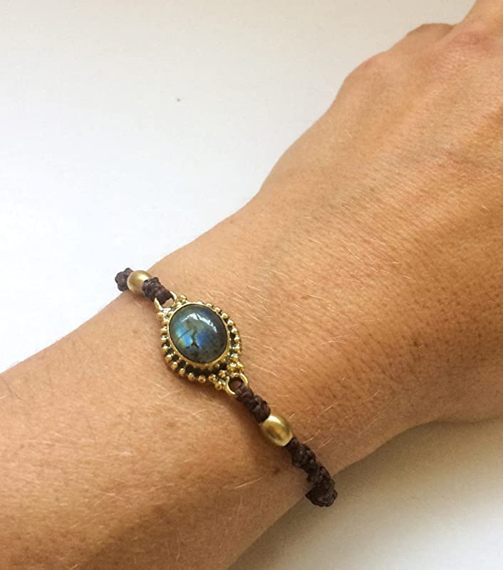 Macram\u00e9 Labradorite Bracelet Bohemian Jewelry. Labradorite Bracelet