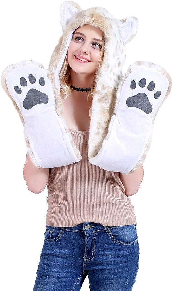Crazy lin Leopard Artificial Fur Earflat Cap Soft Animal Plush Hat Xmas Party Headwear