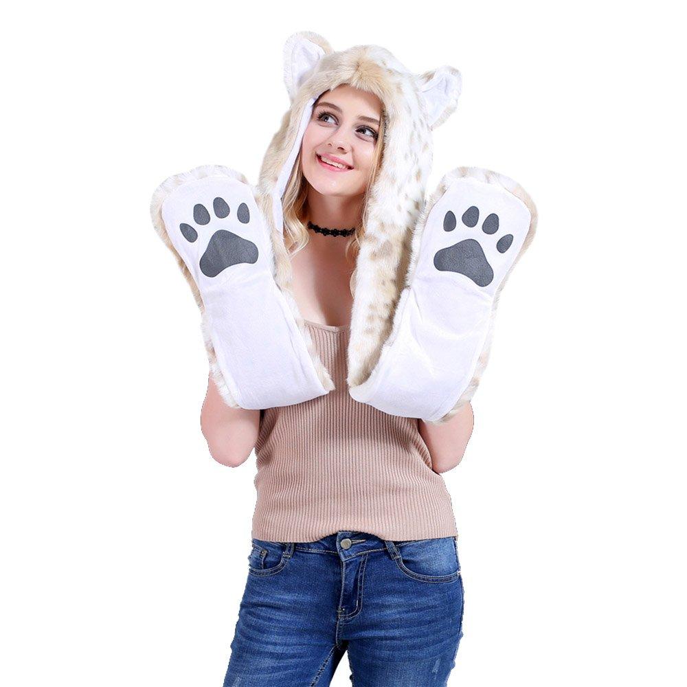 DecoBay Unisex Winter Hut K/ünstliche Pelzm/ütze Warme Shaggy Kapuzenhandschuhe Pl/üschtiere Tier Halloween Karneval Einhorn Cosplay Kost/üm