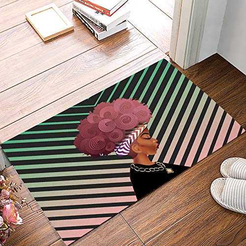 Brawvy Women Black Indoor Doormat Front Door Mat 20x31.5inch Rubber Backing Durable Non Slip Entry Welcome Rug,African Women with Pink Hair Hairstyle Striped Decor -