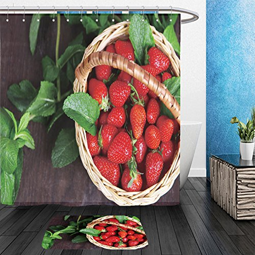 Vanfan Bathroom 2Suits 1 Shower Curtains & 1 Floor Mats ripe sweet strawberries in wicker basket and mint leaves on wooden background 196772960 From Bath room