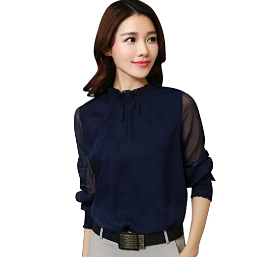 6ac96f90dc7 Image Unavailable. Image not available for. Color  Baigoods  Tees Blouse Sweatshirt Kangma Women Elegant Chiffon Solid Long Sleeve Lace  Casual Tops T-Shirt ...