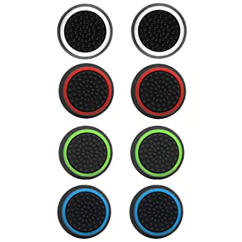 carocheri 4 Pairs 8 Pcs Silicone Cap Joystick Thumb Grip Protect Cover for Ps3 Ps4 Xbox 360 Xbox One Wii U Game Controllers