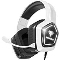 BENGOO G9700 Gaming Headset Headphones for PS4 PS5 Xbox One PC Controller, Noise Canceling Over Ear Headphones with Mic, White LED Light, Bass Surround Sound, Earmuffs for Nintendo 64 Gameboy Advance