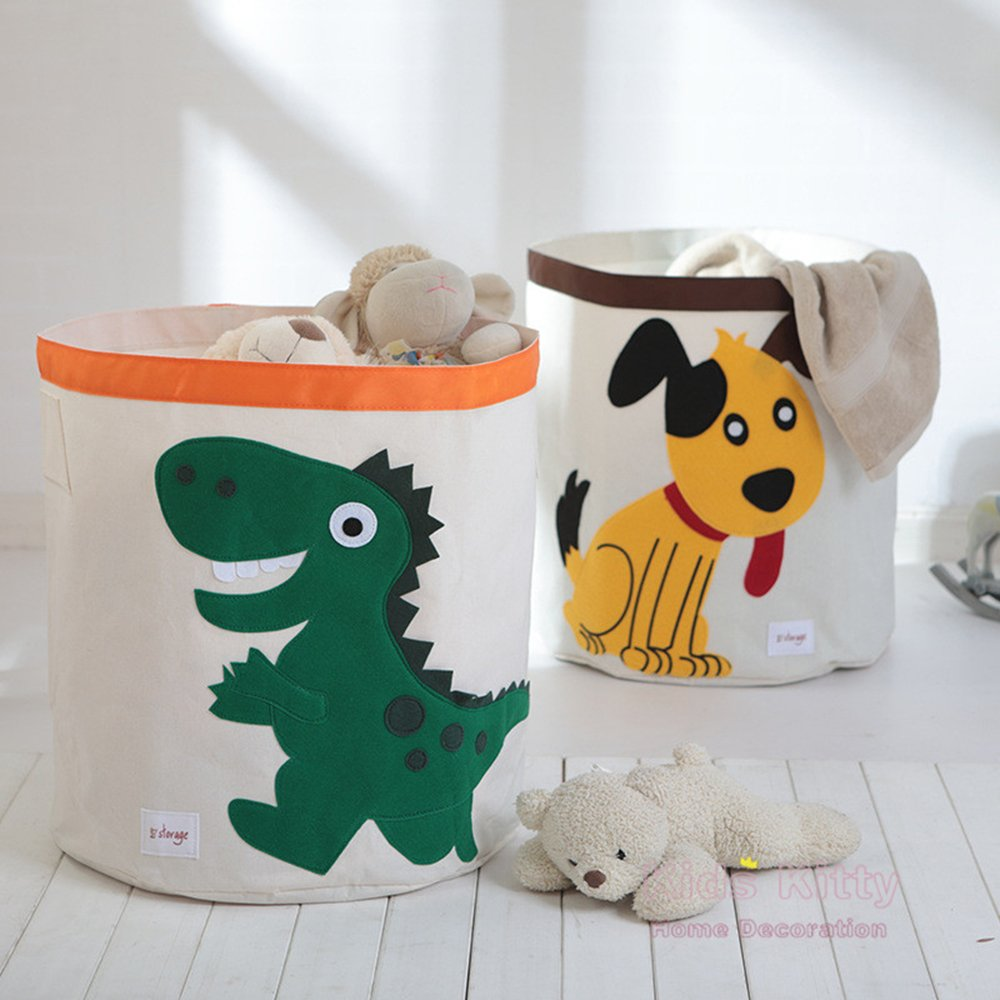 Collapsible Canvas Storage Basket or Bin Toy Organizer for Kids Playroom Pink Dinosaur Stuffed Animal Clothes Children Books