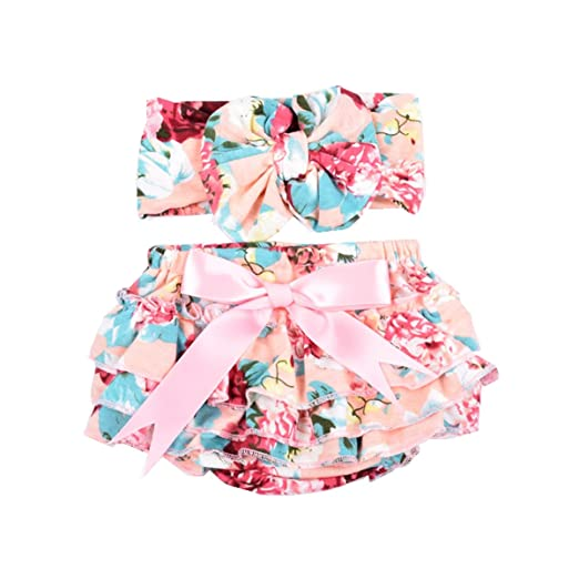 Amazon.com  Baby Girls Diaper Cover Outfit Printing Soft Newborn Bloomer  and Headband Set  Clothing 2b8af9212