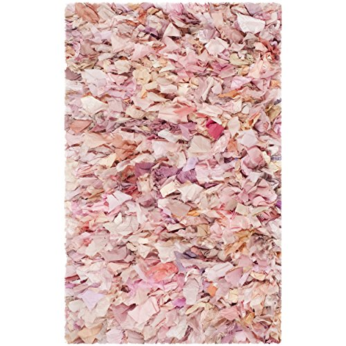 (Safavieh Rio Shag Collection SG951P Handmade Ivory and Pink Polyester Decorative Area Rug (2'6
