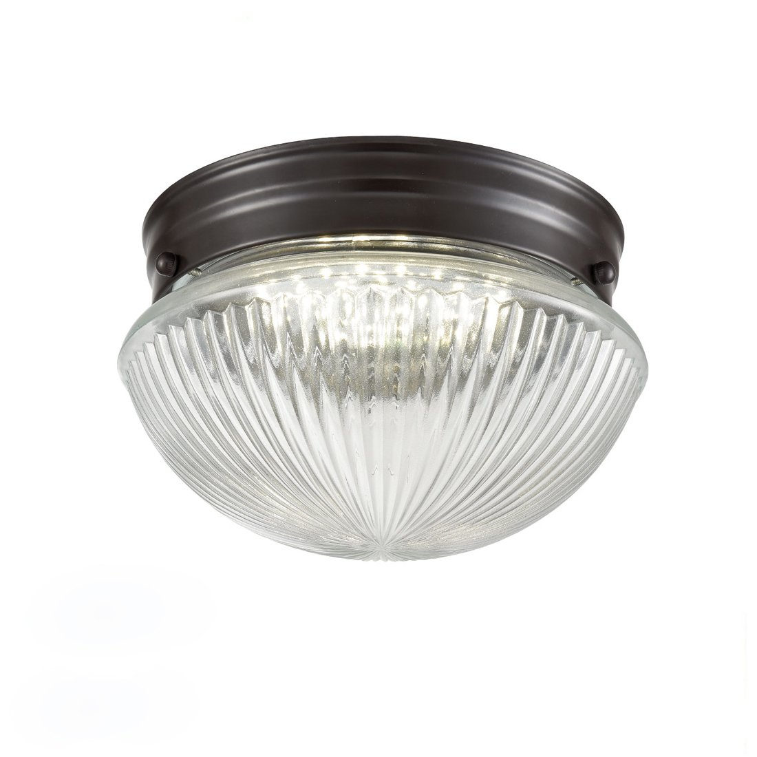 Truelite Industrial Flush Mount Ceiling Light With Glass