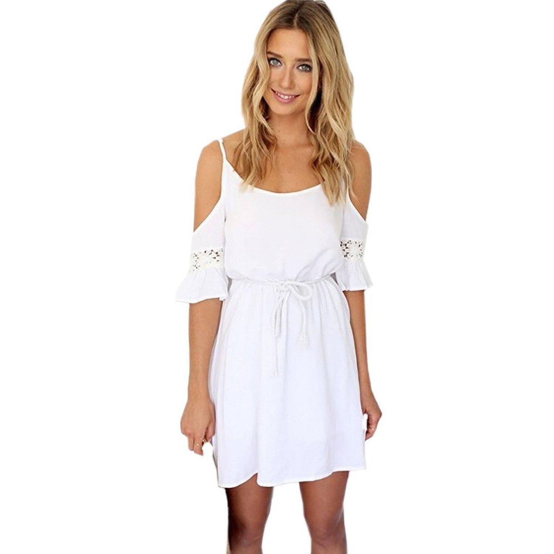 Minetom Fashion Damen Sommerkleid kurz sexy Schulter Kleid Rock Partykleid Cocktaikleid Strandkleid Weiß