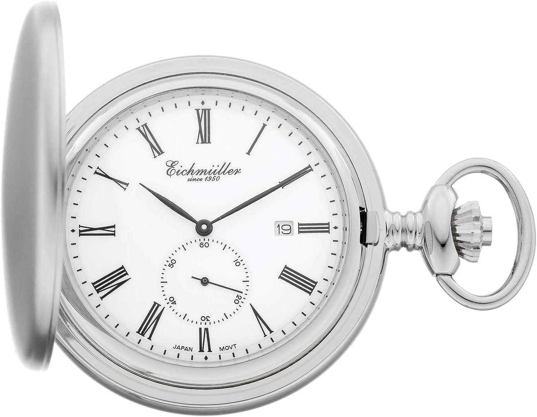 Eichmüller Since 1950 - Reloj de bolsillo (mecanismo de cuarzo, segundero pequeño, fecha, incluye Cadena.