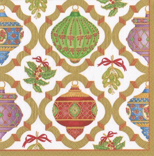 Christmas Napkins Christmas Party Holiday Table Linens Paper Dinner Napkins Ornaments Pk 40