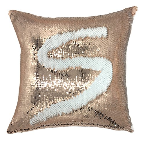 16' Decorative Throw Pillow - YOUR SMILE Mermaid Throw Pillow Case Magic Reversible Sequins Decorative Cushion Cover Pillowcase for Couch Sofa Bed,16 X 16 Inches, (Rose gold/White)