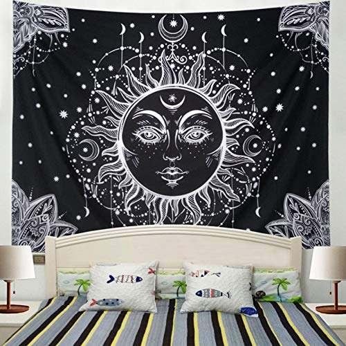 (Racunbula Sun and Moon Tapestry Wall Hanging Psychedelic Wall Tapestry Black & White Celestial Tapestry Indian Hippy Bohemian Mandala Tapestry for Bedroom Living Room Dorm)