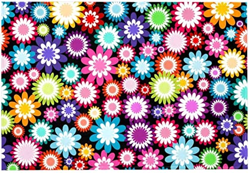 Multicolored Flowers Area Rug Rugs Slip Resistant Backing Modern Contemporary Area Rug,72x48in