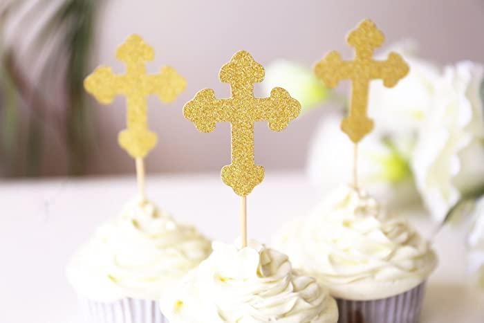 Amazon.com: Cross Cupcake Topper /baptism cupcake toppers/table ...