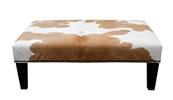Brown And White Cowhide Footstool Fst500 Amazon Co Uk Kitchen Home