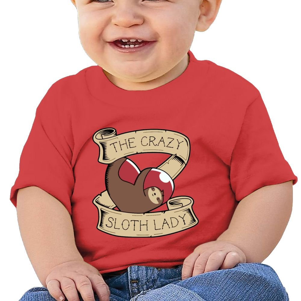 REBELN The Crazy Sloth Lady Cotton Short Sleeve T Shirts for Baby Toddler Infant